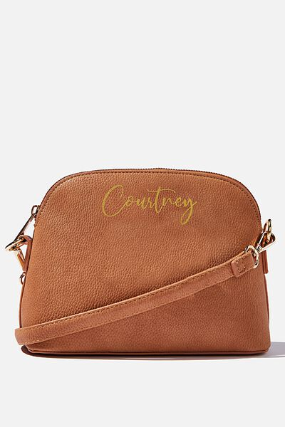 Customised Bridget Cross Body Bag, TAN PEBBLE