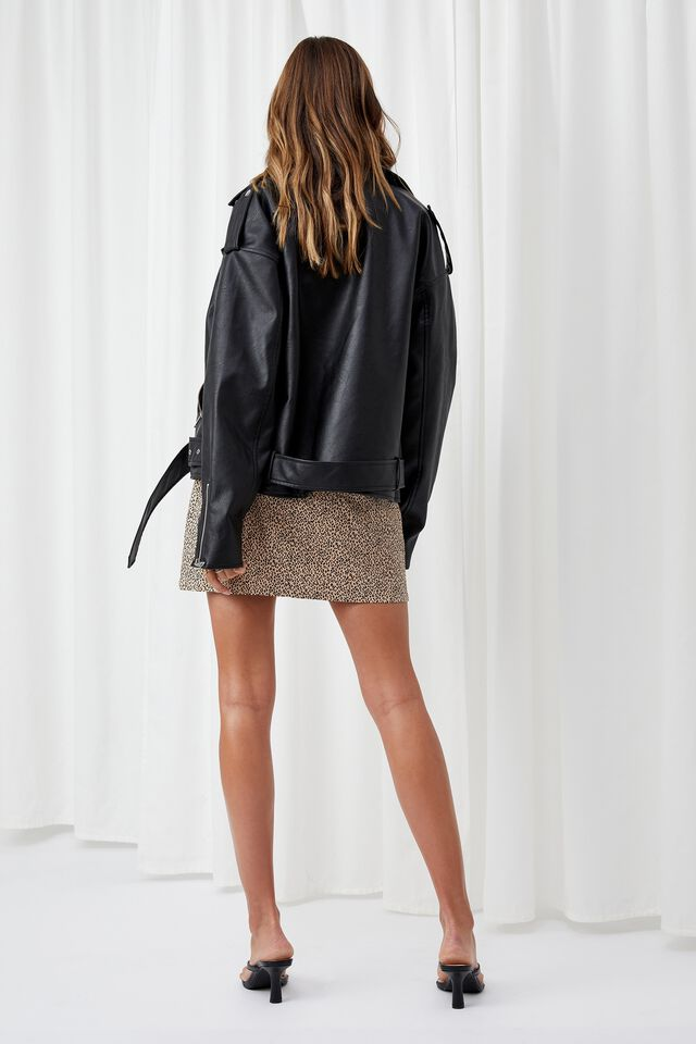 Oversized Faux Leather Biker Jacket, BLACK