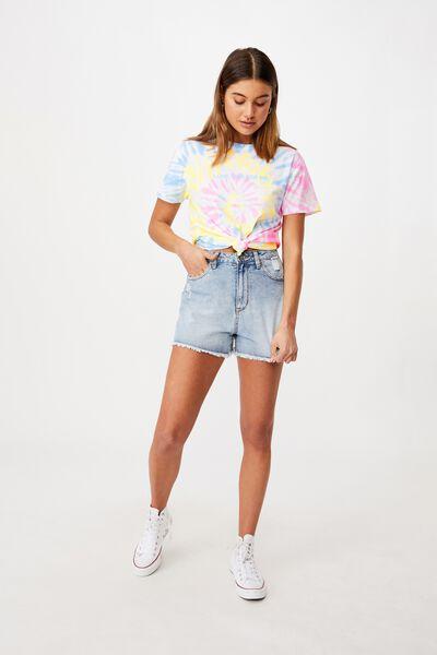 Lola Printed Longline T Shirt, CIRCLE TIE DYE/LOVE THIS FOR ME