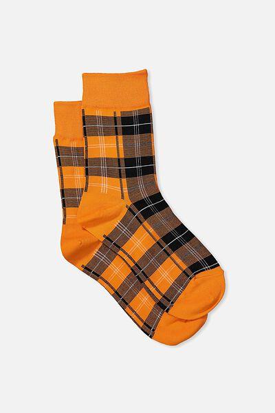90S Check Socks, ORANGE HERITAGE