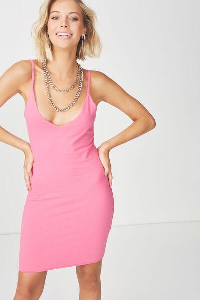 Deep V Double Layer Mini Dress, ROSE PINK
