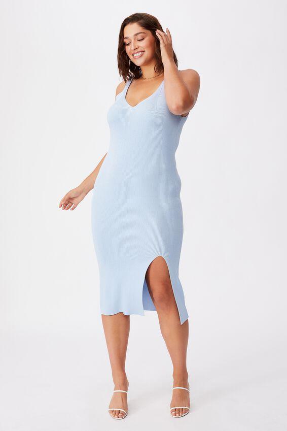 Ivory Knit Midi Dress, MID BLUE