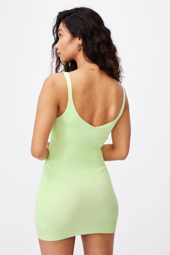Felicity V-Neck Knit Dress, PINE LIME