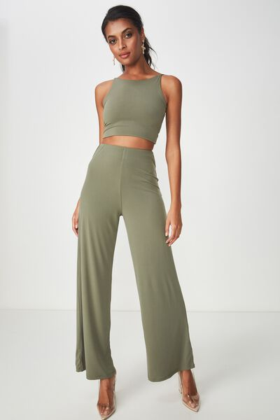 Party Set High Waist Wide Leg Pant, GUM LEAF KHAKI