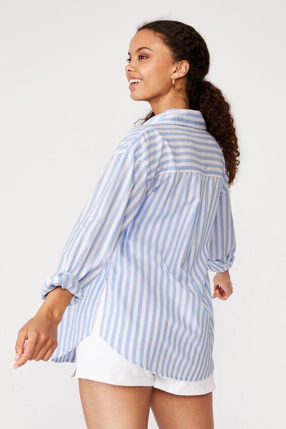 Oversized Dad Shirt, BLUE WHITE STRIPE