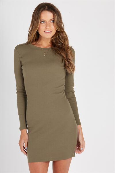 Longsleeve Rib Bodycon Dress, KHAKI