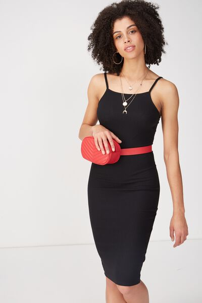 Square Neck Rib Midi Dress, BLACK