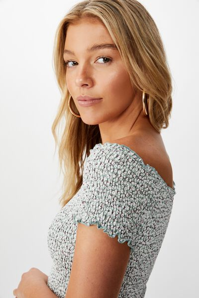Kirsty Shirred Off The Shoulder Top, PEONY DITSY SAGE