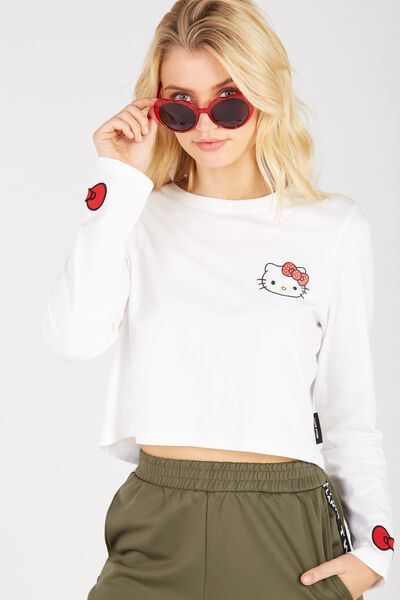 Hello Kitty Printed Long Sleeve Crop, WHITE/HELLO KITTY