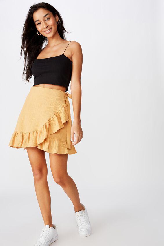 Georgie Frill Wrap Mini Skirt, SUNFLOWER
