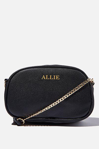 Customised Josie Cross Body Bag, BLACK PEBBLE