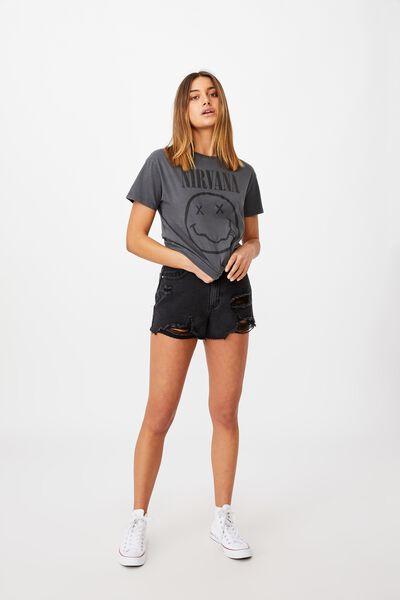 Kendall Printed T Shirt, VINTAGE WASH GRANITE GREY/LCN LIV NIRVANA FACE LOG
