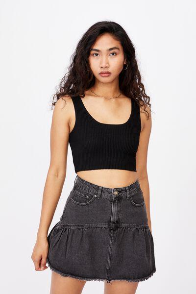 Ruffle Denim Mini Skirt, WASHED BLACK