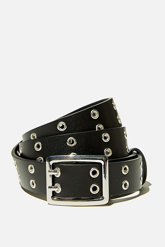 Square Eyelet Belt, BLACK SILVER