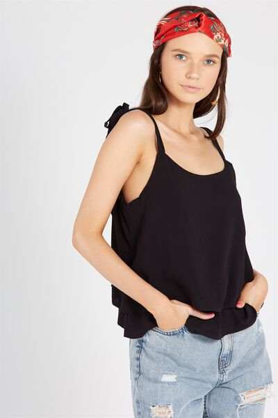 Tie Up Double Layer Tank, BLACK
