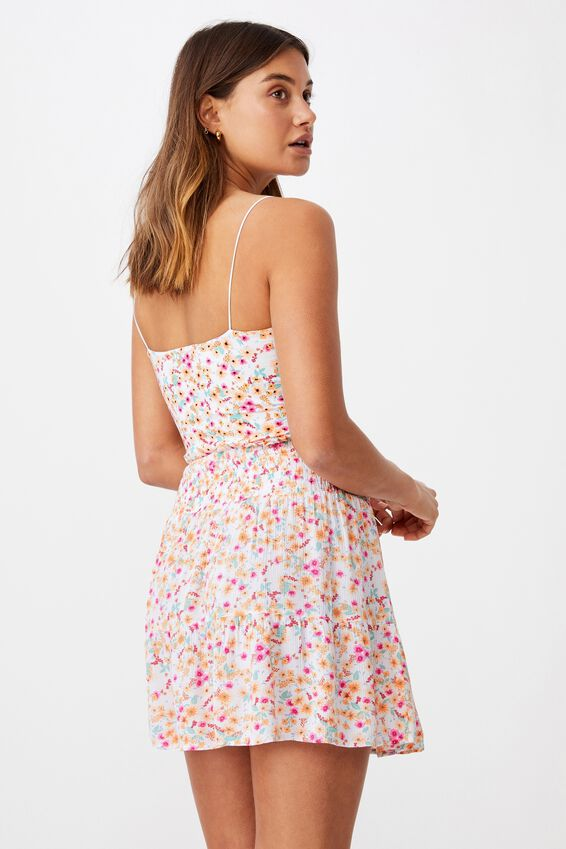 Ariana Shirred Waist Mini Skirt, AVA FLORAL PEACH