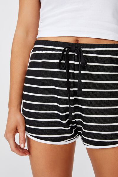 Emma Sweat Short, FIN STRIPE (BLACK/WHT)