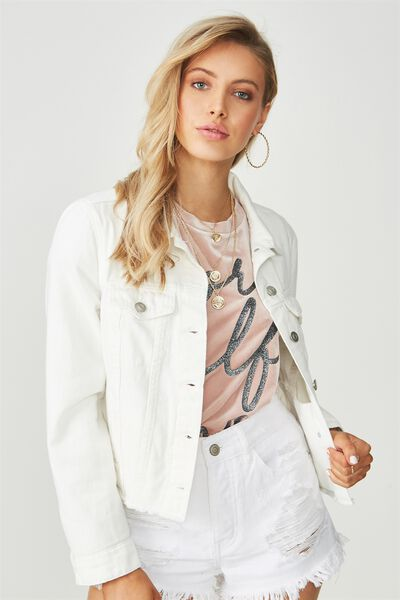 Cut Off Denim Jacket, WHITE