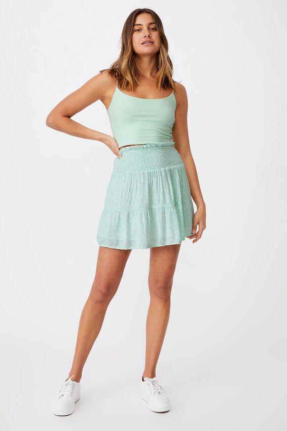 Ariana Shirred Waist Mini Skirt, JENNY FLORAL BRIGHT SEAFOAM