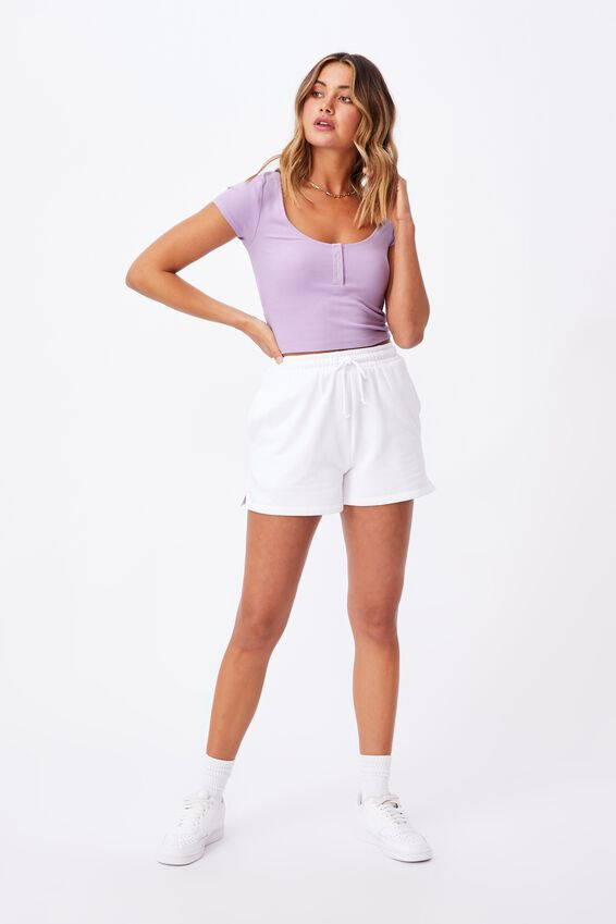 Laney Snap Button Short Sleeve Top, SWEET LILAC