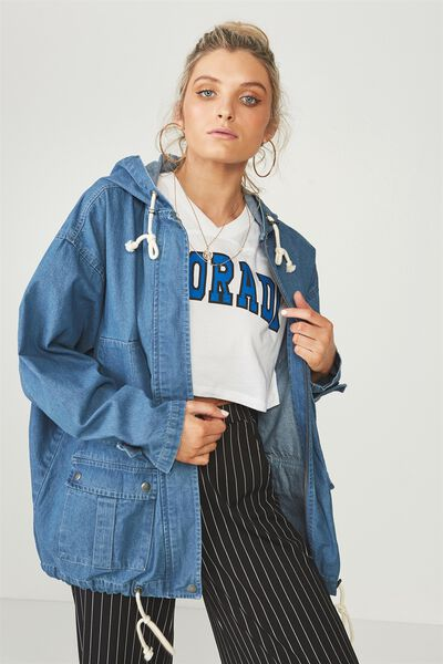 Denim Cargo Jacket, BLUE