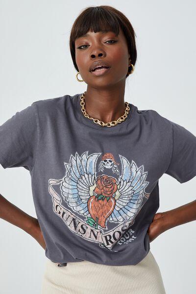 Kylie Printed T Shirt, VINTAGE WASH JET GREY/LCN BRA GNR WINGS