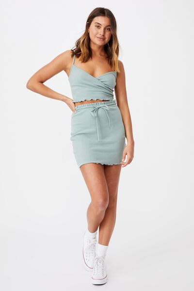Brooke Lettuce Hem Jersey Skirt Co Ord Set, SOFT MOSS