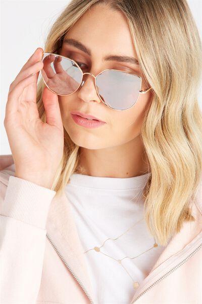Lulu Angular Sunglasses, ROSE GOLD/BLUSH