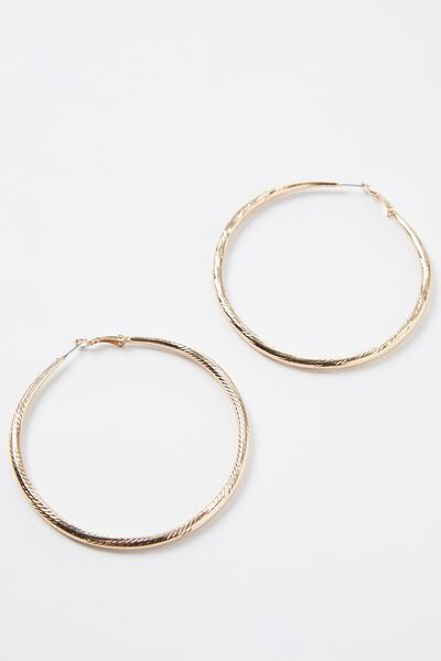 Big Twist Hoop Earrings, GOLD