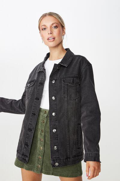 8209f3d89c9 Vintage Boyfriend Denim Jacket, VINTAGE WASHED BLACK