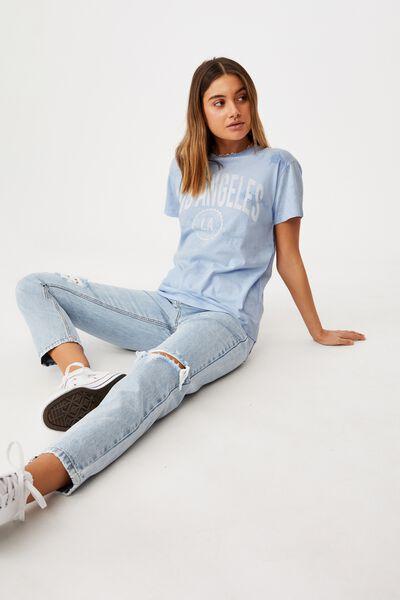 Lola Printed Longline T Shirt, BLUE TIE DYE/LOS ANGELES