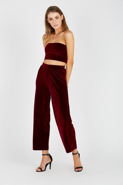 Velour Wide Leg Pant, BURGUNDY