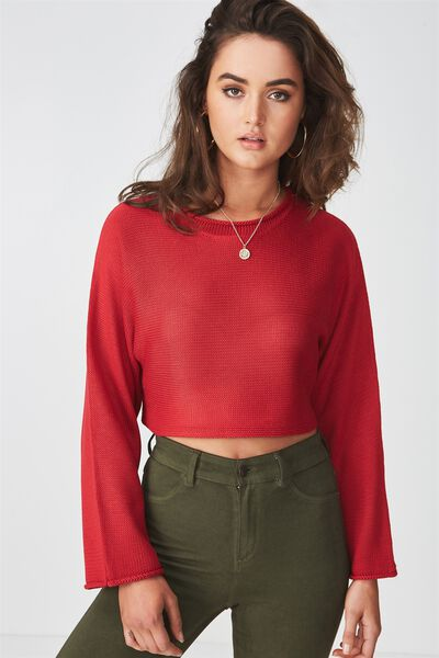 Libby Cropped Knit Top, WASHED RED