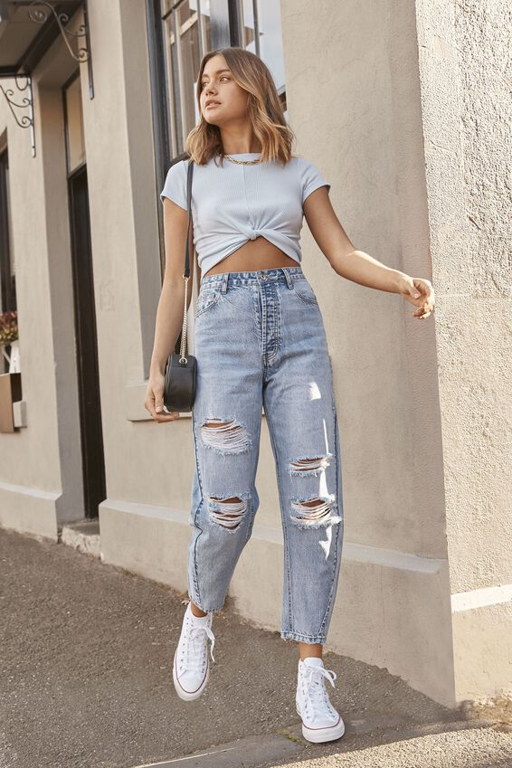 The Balloon Ripped Denim Jean, NORDIC BLUE RIPPED