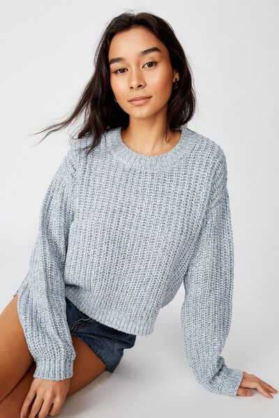 Lennon Crew Knit Sweater, BLUE BABY BLUE GREY/WHITE TWIST