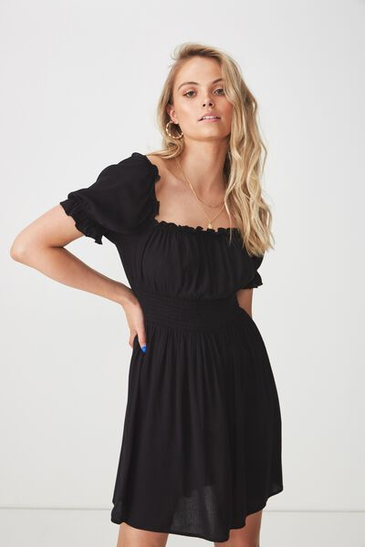 June Smock Waist Dress, BLACK