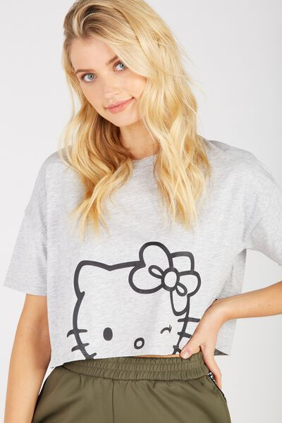 Hello Kitty Print Loose Crop Tee, GREY MARLE/HELLO KITTY