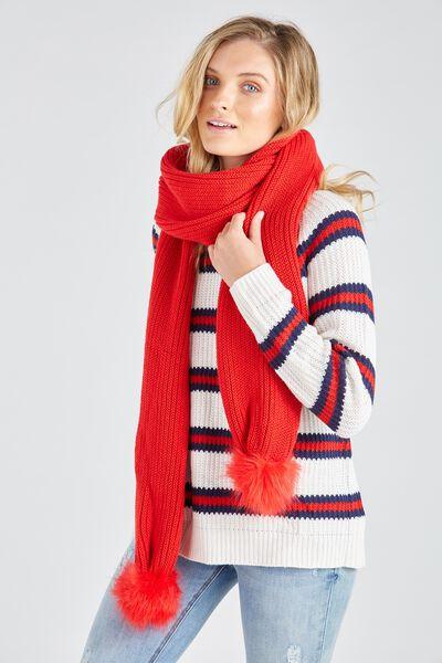 Pom Pom Knit Scarf, RED
