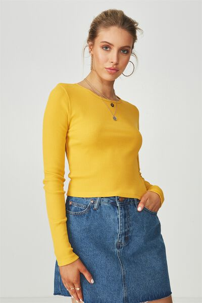 Long Sleeve Fitted Rib Top, MUSTARD