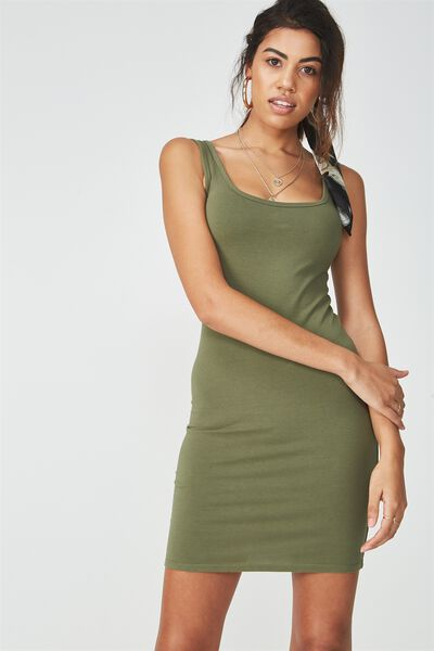 Basic Thick Strap Tank Dress, LIGHT KHAKI
