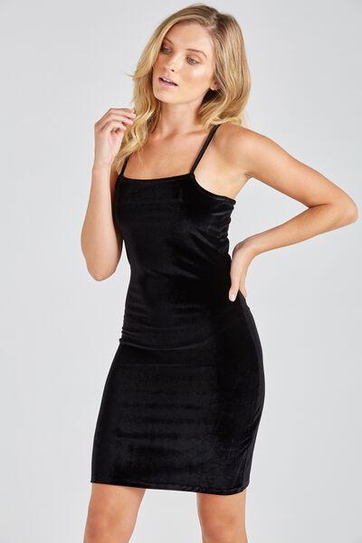 Velour Square Neck Cami Dress, BLACK