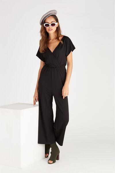 Short Sleeve Wrap Jumpsuit, BLACK