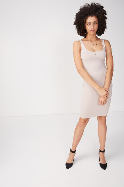 Party Scoop Neck Midi Dress, NATURAL