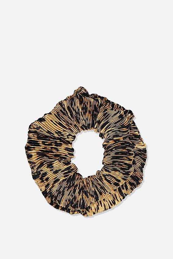 Plush Scrunchie, PLEATED LEOPARD