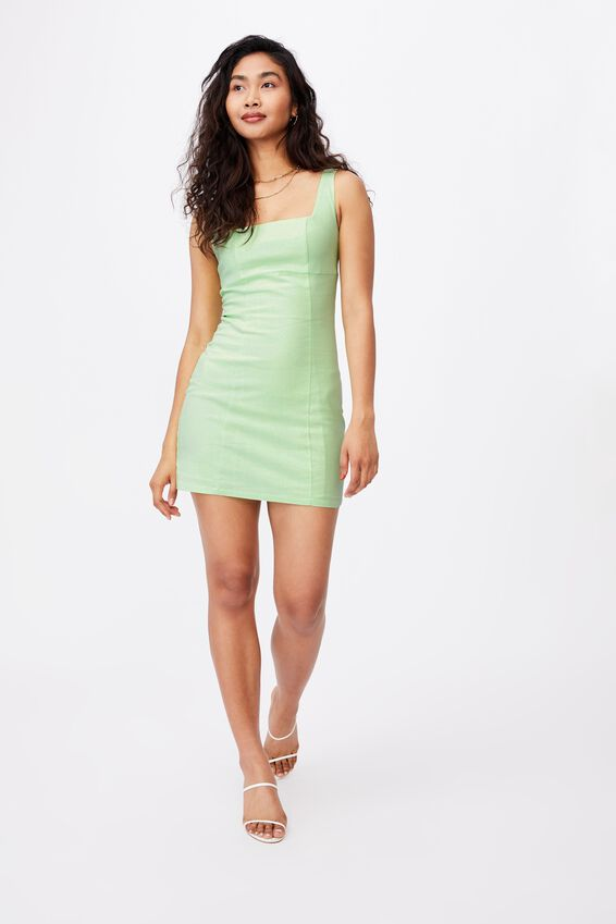 Capri Fitted Square Neck Mini Dress, PINE LIME