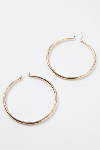 Gold Thick Hoop Earrings, GOLD