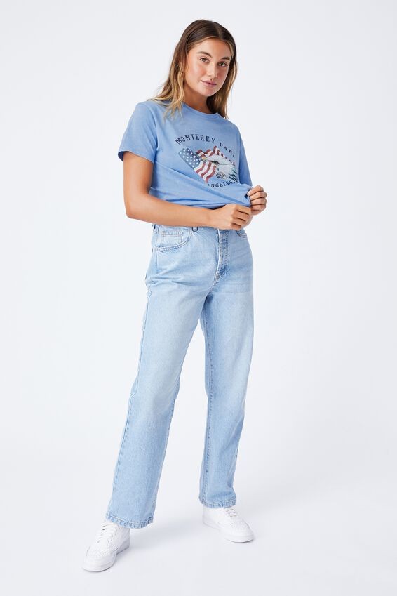 Monterey Park Longline T Shirt, ACID WASH CAROLINA BLUE/MONTEREY PARK
