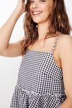 Bambi Peplum Top, B&W GINGHAM