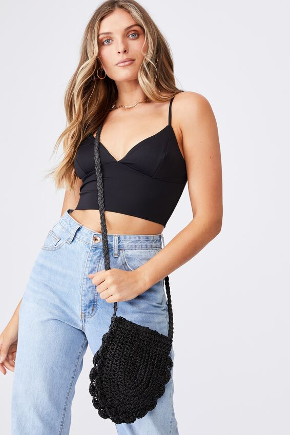 Woven Cross Body Bag, BLACK