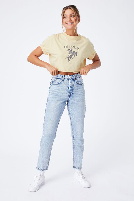 Cow Boy Crop T Shirt, BUTTERMILK/LOS ANGELES COW BOY